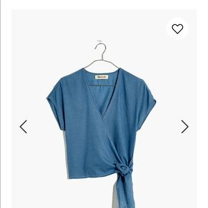 Madewell blue wrapped top